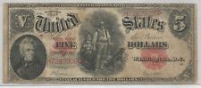 1907 FIVE DOLLAR- U.S. NOTE- SPEELMAN/ WHITE- KL# 221- GOOD CONDITION