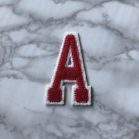 White and Red Letter A Iron On Embroidery Applique Patch Sew Iron Badge Patches