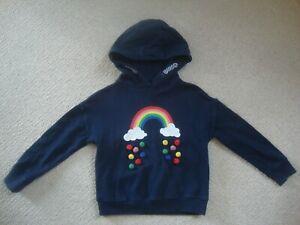 Next girl's navy rainbow hooded sweatshirt age 5 - clouds, pom poms