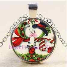 christmas Snowman Kiss Cabochon Glass Tibet Silver Chain Pendant Necklace