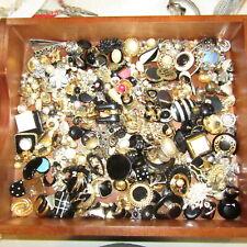 BIG Vintage Single Earring LOT Rhinestone Enamel Antique Craft Repurpose #6