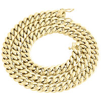 Mens 10K Yellow Gold Hollow Miami Cuban Link Chain 8.50mm Box Clasp 22-34 Inches