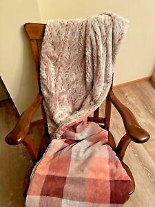 Handmade Soft Minky Burgundy plaid with copper rabbit Back Blanket