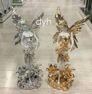 Large Italian Luxury Angel Lady Ornament WHITE GOLD SILVER Romany Ceramic luxury