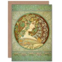Alphonse Mucha Laurel 1901 Old Master Painting Repro Blank Greeting Card