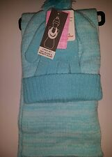 BERKSHIRE FASHIONS WOMENS / GIRLS 3 PIECE POM COLD WEATHER SET TEAL