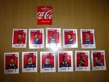 "PANINI EURO 2016 : LES 11 EXTRAS STICKERS COCA COLA ""ROUGE"" FRANCE : FR1 à FR22"