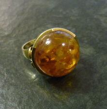 Goldring mit Bernstein-Halbkugel 585er Gold Ring 14 Karat Gelbgold GG Gr. 55
