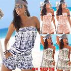 Women Holiday Boho Off Shoulder Strapless Mini Jumpsuit Beach Playsuit Size 6-16