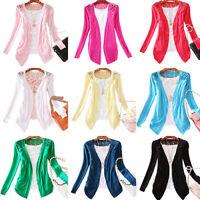 KE_ Women Lace Sweet Candy Color Crochet Knit Blouse Top Coat Sweater Cardigan