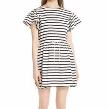 NWT Kate Spade stripe tie waist dress black/white Large