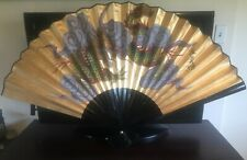 """Vintage Chinese Oriental Hand Painted Folding Paper Wall Fan Dragon & Clouds 48"""""""
