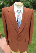 Shiny Bright Copper Blazer Jacket 44L - Versatile Vintage 1980s Poly Sport Coat