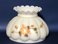 "Vintage 7"" Fitter GWTW White Floral Glass Melon Hurricane Oil Lamp Shade"