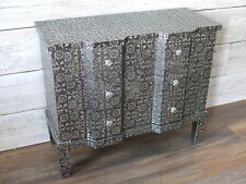 Blackened Silver Embossed 6 Drawer Chest sideboard marrakesh style