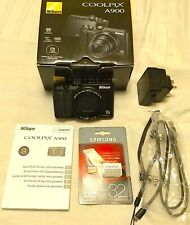 Nikon Coolpix A900 - Black, boxed  with accessories + 32meg Card!!