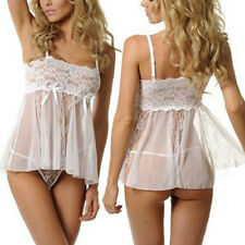 Charm Sexy Lingerie Mesh Babydoll Wedding Bridal Nightwear G-String Set White