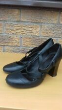 Ladies Black Leather Shoes Size 5 block heel double strap mary jane popper close