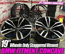 "19"" ALLOY WHEELS TO FIT BMW M3 CSL E90 E92 E93 F30 F10 STAGGERED BLACK POLISHED"