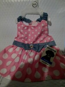 "Simply DOG Pink Polka Dot Party Dress Denim Accents Rhinestone Heart XS 12""-14"""
