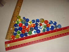 Estate Find 42 Vintage Marbles clear glass Cat's Eye? Different Colors & Sizes