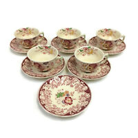Royal Doulton Pomeroy Red Set of 5 Flat Tea Coffee Cup and Saucer Sets
