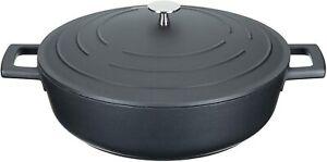 MasterClass 4L Pressure Cast Aluminium Shallow Casserole Dish with Lid Non Stick