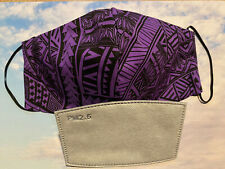 Cotton Face Mask With Pm 2.5 Filter Hawaiian Tribal Purple