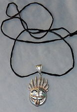 Vintage 925 Wild Weird Crazy Face Pendant Tongue & Eyes Move Stand Up Hair