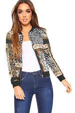 Womens Baroque Leopard Scarf Print Long Sleeve Zip Bomber Jacket Ladies Coat Top Black White 14-16