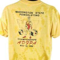 Washington State Powerlifting T Shirt Vintage 80s 1986 Championships USA Size XL