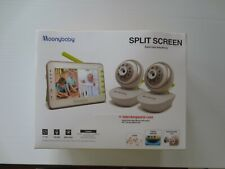 """Moonybaby 4.3"""" Split Screen Video Baby Monitor w/ Two Remote Rotate Cameras"""