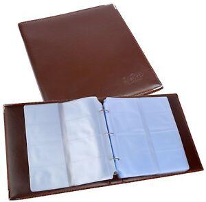 Visitenkarten Ringbuch Ordner Mappe BRAUN 480 karten Business Visitenkartenalbum