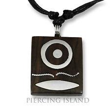 Amulett Anhänger Design Kette Halskette Holz Edelstahl N274