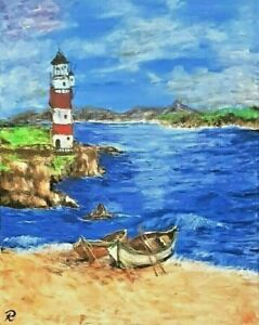 """"""" The Lighthouse"""" Original Painting- De Martino Art"""