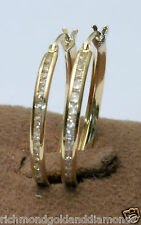 Round CZ Cubic Zarconia Hoops Large Earrings Solid 14k Yellow Gold Hoop Dangle