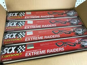 4pc CASE Lot of SCX Compact 1/43 Extreme Raiders Electric Slot Car Race Sets NEW