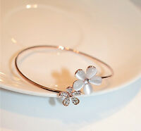 Fashion Women Crystal Daisy Flower Bangle Bracelet Open Adjustable Jewelry Gift