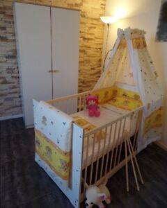 Babyzimmer Komplett Set Babybett Umbaubar 5 Farben Schrank Matratze WEIß NEU!!