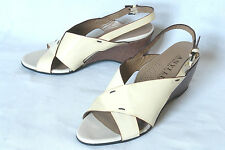 ANYI LU / ITALY / CLASSIC WEDGE SANDAL IN ALMOND PATENT  / SZ: 38 / SUPERB