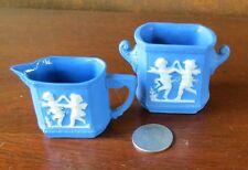 Dancing Fairies Blue Jasperware Doll Toy Cream Pitcher & Sugar Bowl