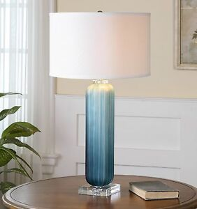 "MODERN 30"" FROSTED GROOVED GLASS TABLE LAMP NICKEL & CRYSTAL ACCENTS UTTERMOST"
