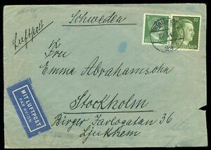 Deutsches Reich Berlin 29.6 1942 Zensur Luftpost Brief nach Schweden. Judaika