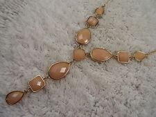 Goldtone Pink Cabochon Drop Pendant Necklace (A65)