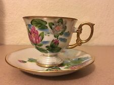 Flower of Month JULY WATERLILY UCAGCO Japan Lusterware Footed Tea Cup & Saucer