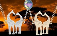 New Kissing Heart Giraffe Double Silver Gold Animal Pendant Necklace