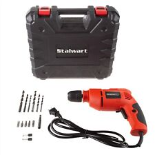 Stalwart 6 Ft Cord Electric Power Drill 3/8 In Chuck Power Tool with Case