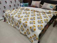 Indian Hand Block Print Kantha Quilt Throw Reversible Floral Print Bedspread