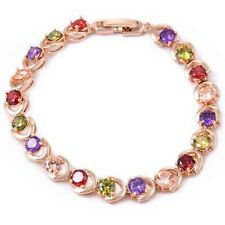 Wholesale Women Gold filled Copper Zircon Mixed color Bangle Bracelet