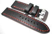Black carbon fibre leather watch strap with red stitch, 20, 22 and 24mm wide